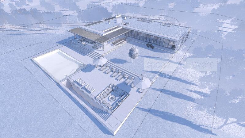 Casa em Santiago do Cacém. 3D do Projeto de arquitetura. Vista aérea a Sudeste.