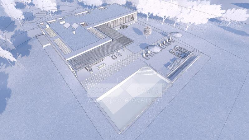 Casa em Santiago do Cacém. 3D do Projeto de arquitetura. Vista aérea a Sudoeste.