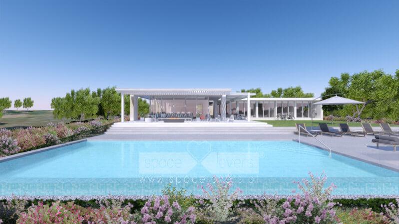 Casa em Santiago do Cacém. Vista 3D da piscina para a casa.