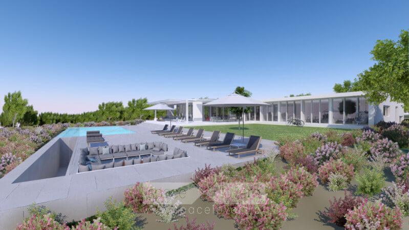 Vista 3D da zona da piscina para a casa.